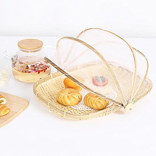 Navigatee Dustproof basket,Hand-Woven Bug- proof Basket Sun Basket Handmade Fruit Vegetable Bread Cover Picnic Basket with Gauze