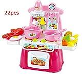 Mini Spielzeug Küche Kochset Kinder Tisch Rollenspiele Pretend Lebensmittel Spielen für Kinder über 3 Jahre Alt/Küche Pretend Spiel Spielzeug Kinder vocalization Multifunktions Küche Kochen Simulation Modell Spielzeug (rosa)