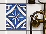 creatisto Fliesen-Sticker Aufkleber Folie selbstklebend | Fliesenspiegel Dekorationssticker Bad renovieren Küche Bad Ideen | 15x20 cm Muster Ornament Spanish Tile 1-1 Stück
