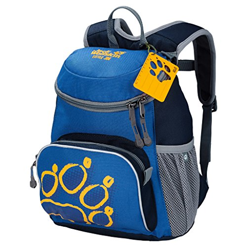 Jack Wolfskin Unisex - Kinder Rucksack Little Joe, night blue, 31 x 26 x 23 cm, 11 liters, 26221 (Namensschild Mit Tasche)