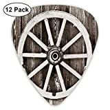 Guitar Picks - Abstract Art Colorful Designs,Retro Wheel On Timber Wall Barn House Village Cart Circle,Unique Guitar Gift,For Bass Electric & Acoustic Guitars-12 Pack