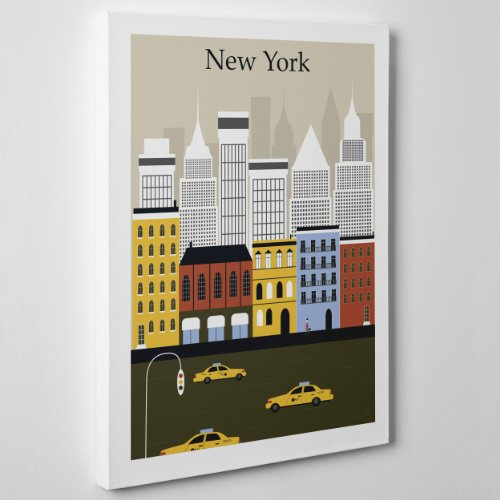 QUADRO MODERNO su Tela Canvas - NY NEW YORK - Graphic Design America USA - 70x100cm - Spessore 2cm