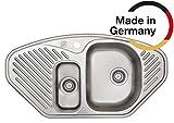 Rieber 72012701 Einbauspüle Econa 150 EL Edelstahl Küchenspüle Made IN Germany Ecklösung 985x515 mm 1,5 Becken Spülbecken glatt langlebig und rostfrei