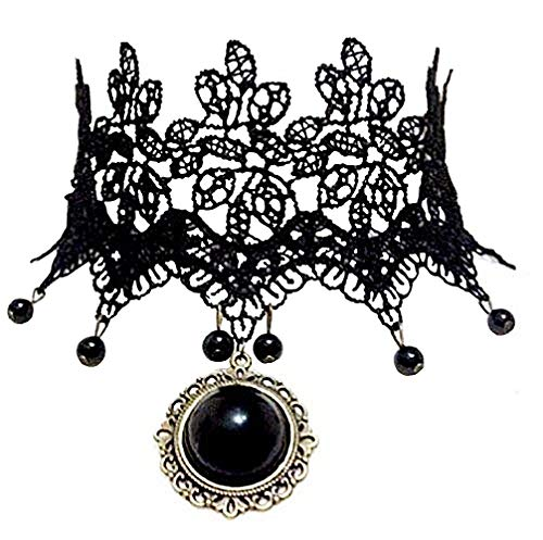 Lovelegis C1 - Collar - Estilo gótico - Piedra Negra - Vittoriano - Medieval - Idea Regalo - Mujer - Chica