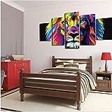 hhlwl 5 panel große HD gedruckt ölgemälde löwe aquarell pack leinwand drucken kunst wohnkultur wandkunst bild für wohnzimmer-10x15/20/25cm-frame