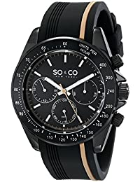 So & Co New York Monticello Men's Quartz Watch with Black Dial Analogue Display and Black Rubber Strap 5010R.3