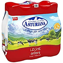 Central Lechera Asturiana Leche UHT Entera - Paquete de 6 x 1500 ml - Total: