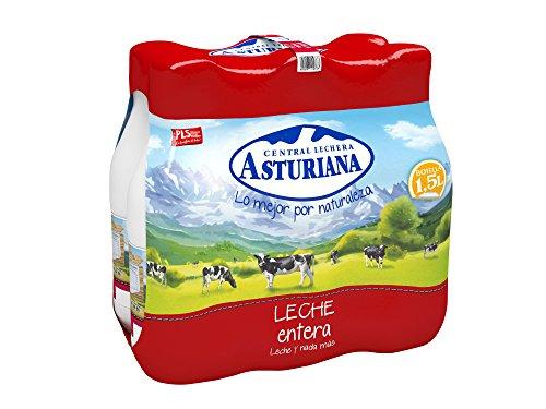 Central Lechera Asturiana Leche UHT Entera - Paquete de 6 x 1500 ml - Total: 9000 ml