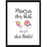 Wand-Bild Kunstdruck mit Spruch MAMA DU BIST DIE BESTE Din A4 Poster