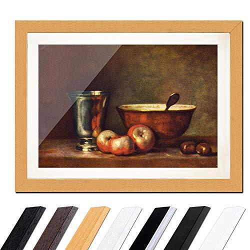 Bild mit Rahmen - Jean Siméon Chardin Der Silberbecher 60x40cm ca. A2 - Gerahmter Kunstdruck inkl. Galerie Passepartout Alte Meister - Rahmen buche - Buche Klassisch Natur