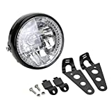 OSAN Motorrad 7-Zoll H4 Hauptscheinwerfer Kopf Lampen 35W 12V Hi/Lo mit LED Standlichtring mit Scheinwerferhalter