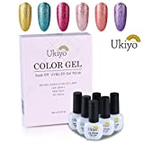 Ukiyo 6PCS Soak Off kit smalto semipermanente Platino 8ml UV LED Smalto semipermanente unghie in Gel gel polish Nail Art set