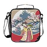 Hunihuni Japanische Kimono Frau Sakura Isolierte Lunchbox Tote Bag Auslaufsichere Bento Box mit verstellbarem Schultergurt für Erwachsene und Kinder