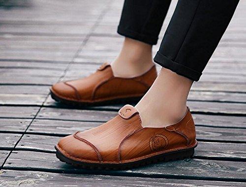 Uomini Autunno Nuovi Pattini Di Cuoio Casuale Scarpe D'affari Respirabili Scarpe di Trend di Moda Britannica Brown