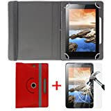 """#10: Hello Zone Exclusive 360° Rotating 7"""" Inch Flip Case Cover + Free Tempered Glass for Amazon Fire 7 -Red"""