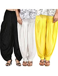 Rooliums (Brand Factory Outlet) Full Patiala Cotton Salwar Combo 3 Free size (Black, White and Yellow)