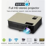 BORSSO™ Earth 8.2 with Android 6.0, FHD Projector, Wi-Fi & Bluetooth, 4500 High Lumens, HDMI USB VGA AV, Black