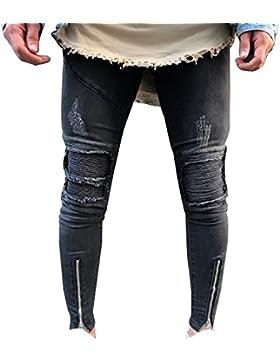 Jeans Skinny Slavati Con Strappi Alle Ginocchia Chiusura Lampo Di Locomotiva Pantaloni Jeans Da Uomo