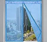 GAIHU Startseite Mückennetz, Punch-Free-Verschlüsselung Abnehmbare Fenstergitter,Blue,100X150cm