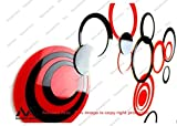 Naveed Arts - Acrylic 3D Wall Sticker Dã©Cor For Home And Office - Red And Black 20 Rings + 6 Free Rings Jb019S4Rb- Naveed Arts Factory Outlet