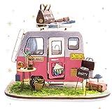 Rolife DIY Puppen Haus Modell Kits Handwerk Miniatur-Kit mit Möbeln und Zubehör Holz Zimmer Gebäude Geburtstag (Happy Camper)