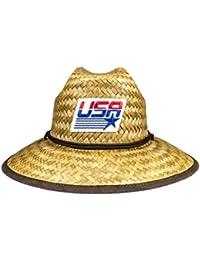 new concept 92c26 f11e6 Cowbucker USA Olympic Flag Natural Straw Baywatch Lifeguard Hat  (Lightweight Outdoor Wide Brim Sun Hat