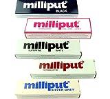 5x Milliput Epoxidmasse, 1x silbergrau, 1x gelbgrau, 1x superfeines Weiß, 1x schwarz, 1x terrakottafarben – Modelliermasse für Autokarosserien, Boote etc. (X8131)