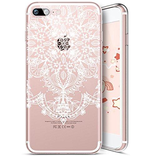 iPhone 7 Coque,iPhone 8 Coque,Housse de Téléphone pour iPhone 7/8,Etsue Silicone Étui Housse de Protection TPU [Liquid Crystal] [Renforcer Antichoc] Transprent Clear View Mandala Fleur Totem Case Gel  Mandala 7#