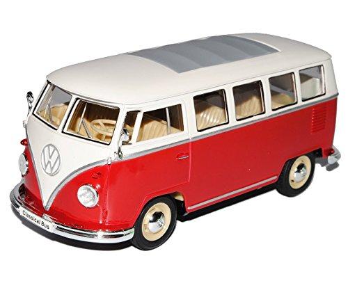 Welly VW Volkswagen T1 Rot Weiss Samba Bully Bus 1950-1967 1/24 Modell Auto mit individiuellem Wunschkennzeichen