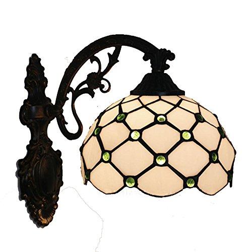 OOFAY Lichter Tiffany Stil Klassische Zink-legierung Wandleuchte 20 * 28 cm E27 Runde Glasmalerei Wandleuchte Grün Blau Gelb Gems Malerei Innendekoration Lampe Schlafzimmer Cafe Aisle Stairway Lampe , 1