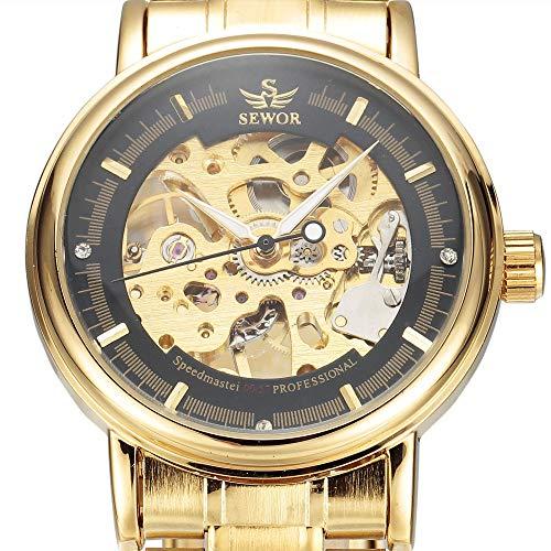FENKOO Schöne Mechanische Uhren SEWOR Uhr Hohlen Stahlgürtel Herrenuhr Herren Mechanische Uhr halbautomatische Mechanische Uhr (Color : 2)
