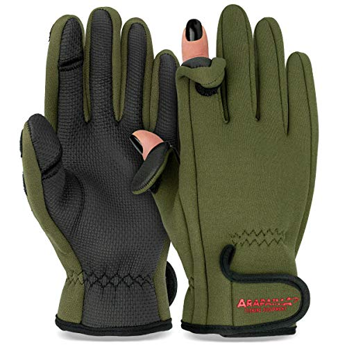 Thermo Angelhandschuhe 'Spin' | Neopren Angel Handschuhe | Anglerhandschuhe | Fishing Gloves - Oliv - XXL