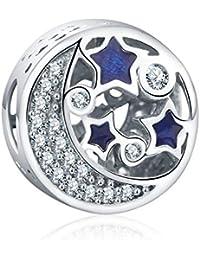 Zxx Jewelry Azul Romántico Estrellado 925 Granos De Plata De Los Granos del Navidad Regalos del Día De San Valentín para La Pulsera del Encanto Regalo En Caja