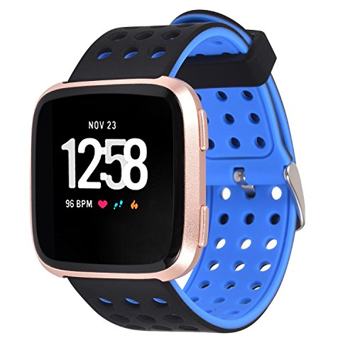 Greatfine für Fitbit Versa Watch Armband, Silikon Sport Watch Band Ersatz Uhrenarmband für Fitbit Versa Smartwatch (Black Blue)