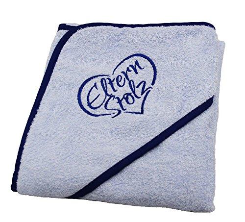 Elternstolz Handtuch Baby mit Kapuze 80x80cm Ökotex Hochwertig Bestickt (blue)