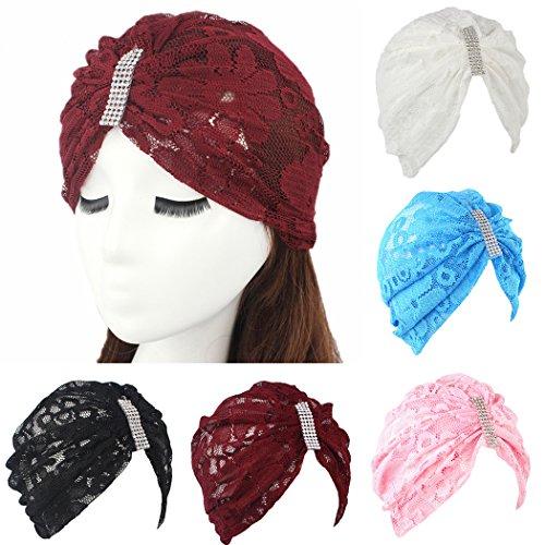 Fascigirl Aux Femmes Turban Fashion Dentelle Plissée Turban Tête Couvercle Twist Hair Wrap Azzurro cielo