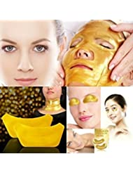 ONE1X - 1Set FACE,EYE,NECK Crystal 24K Gold Powder Gel Collagen Mask Masks Sheet Patch, Anti Ageing Aging, Remove Bags, Dark Circles & Puffiness,