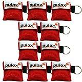 """10x PULOX ® """"RESPI-Key"""" Schlüsselanhänger Beatmungsmaske in rot"""