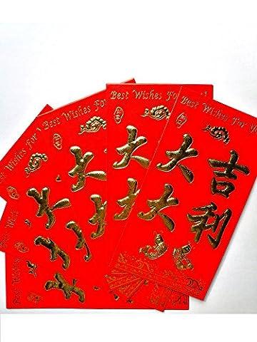16cm Rouge chinois Lucky Money Lot de 6Enveloppes: Augure