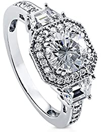 BERRICLE Rhodium Plated Sterling Silver Round Cut Cubic Zirconia CZ Halo Art Deco Engagement Ring