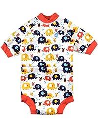 Splash About Baby Happy - Traje de neopreno para pañales, multicolor (pequeños elefantes), pequeño (0-4 meses)