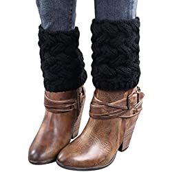Calcetines,RETUROM caliente de la manera invierno de las mujeres párrafo del escrito grueso de la aguja calentadores de la pierna Calcetines cubierta de arranque (Negro)
