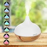Easehold 300ml Arôme Essentiel Pétrole Diffuseur Ultrasonique Cool Brouillard Humidificateur avec 7 Couleurs LED pour Yoga Spa Accueil Bureau Chambre