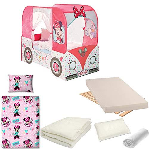 Bebegavroche Pack Complet Lit Camping-Car Minnie tiroirs Disney = Lit+Matelas & Parure+Couette+Oreiller