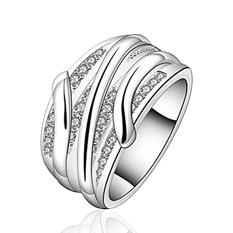 sunifsnow femmes Slash cristal rond en pierre de Cristal élégant anneau
