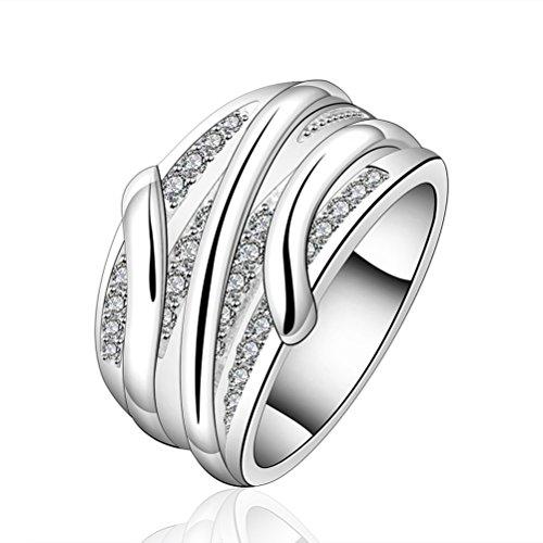 SunIfSnow donna Slash rotondo pietra cristallo elegante anello, placcato argento, 13,5, cod. 2016051808