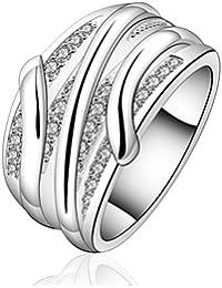 sunifsnow Mujer Slash Round Crystal Piedra Crystal elegante anillo