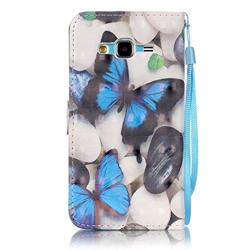 Coque pour Samsung Galaxy J3 2016, Etui pour Samsung Galaxy J3 2015, ISAKEN Peinture Style PU Cuir Flip Magnétique Portefeuille Etui Housse de Protection Coque Étui Case Cover avec Stand Support et Ca Papillon bleu