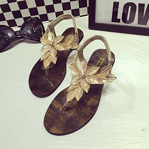 Minetom Femmes été Rétro Feuilles Chaussures Tongs Romains Summer Girls Flip Plat Flops Sandales Chaussons de Plage Or