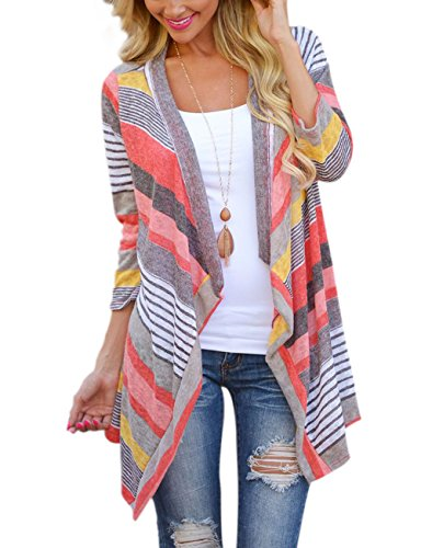 Yidarton Damen Strickjacke Langarmshirt Irregular Colorful Striped Baumwolle Kimono Cardigan Oberteil Mantel Cover Up Outwear (M, Rot)